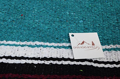 Teal / Turquoise Diamond Navajo Mexican Yoga Blanket, Thick Serape with Red and Yellow Sunset Stripes -- Handmade