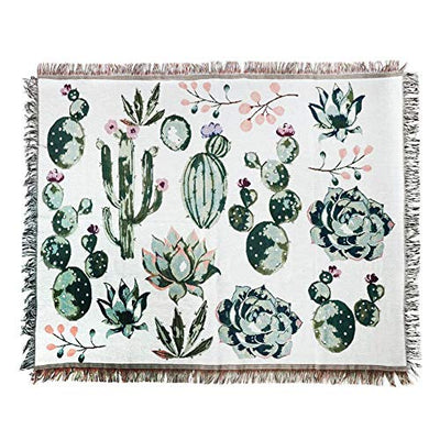 ANswet Tapestry Wall Hanging,Handicrafts Tapestry, Jacquard Succulent Tapestry, Multipurpose Soft Travel Mat, Outdoor Shawl Colourful Tassels Wall Cactus Mat 50x60 inch(Cactus)