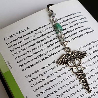 Bookmark with Medical Symbol and Raw Colombian Emerald. Hope, Love and Protection!. Vintage Bookmark by D'Mundo Accesorios. Bookmark with Caduceus Symbol. Antique Silver Bookmark