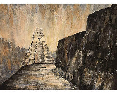 Watercolor painting of Mayan temple in Tikal Guatemala (print)
