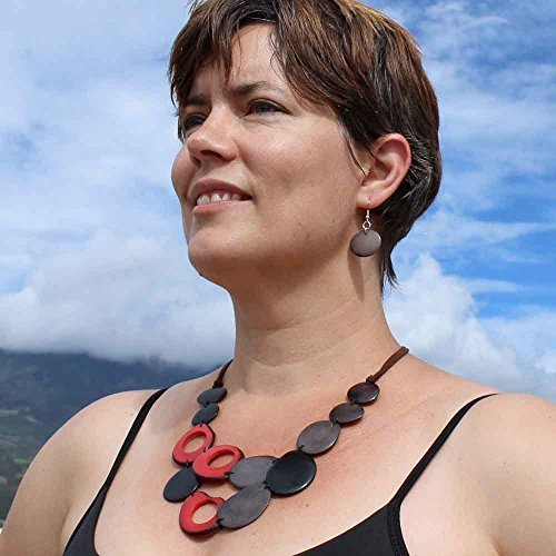 Black Red and Gray Tagua Nut Necklace and Earrings