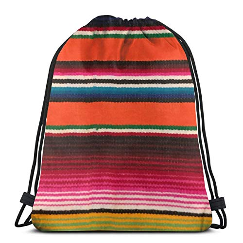 Drawstring Backpack Bag,Beauiful Mexican Serape Water Resistant Nylon Gym Bag for Beach Shopping Sport Yoga Swimming Camping Travel
