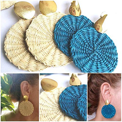 "Colombian Natural Iraca Palm Earrings. Gold plated hammered Bronze and Iraca Palm earrings. 24 Kt Gold plated handmade earrings by D'Mundo Accesorios. 2,5"" Iraca Earrings."