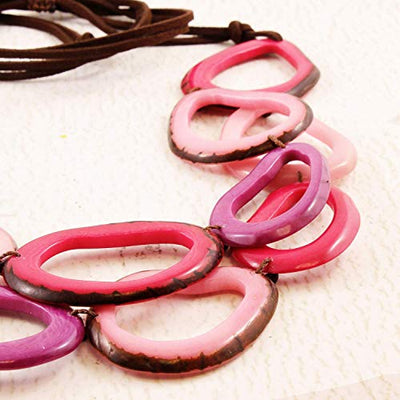 Purple and Pink Layered Tagua Nut Necklace and Earrings
