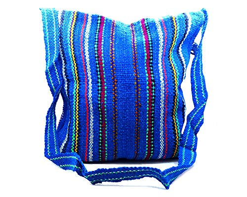 Thick Woven Hemp Multicolored Stitched Striped Pattern Fringe Flap Large Square Messenger Bag Casual Purse (Blue)