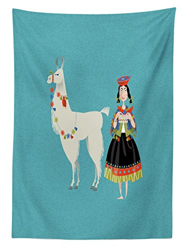 "Ambesonne Llama Tablecloth, Peruvian Woman Knitting with a White Alpaca Wrapped with Flower Colorful Illustration, Rectangular Table Cover for Dining Room Kitchen Decor, 60"" X 90"", Sea Blue"