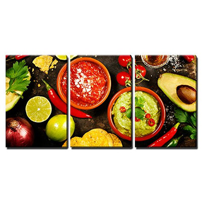 "wall26 - 3 Piece Canvas Wall Art - Mexican Food Concept: Tortilla Chips, Guacamole, Salsa, Tequila Shots - Modern Home Decor Stretched and Framed Ready to Hang - 16""x24""x3 Panels"