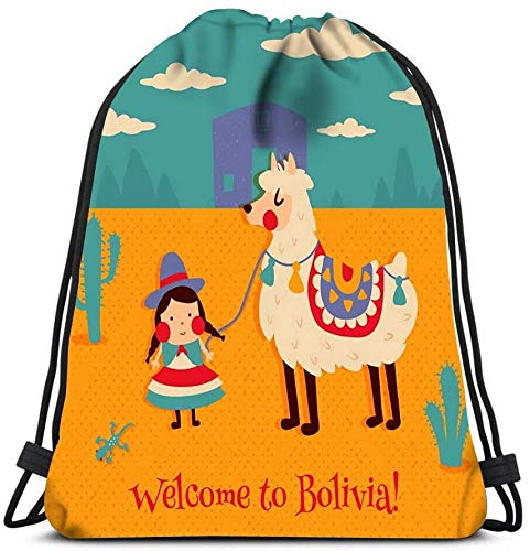 Cute Bolivian Girl In Traditional Cholita Costume Funny Llama Travel Gym Rucksack Shoulder Bags Drawstring Backpacks Storage Bag