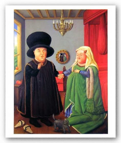 "The Arnolfini after van Eyck by Fernando Botero 21.75""x16.5"" Art Print Poster"