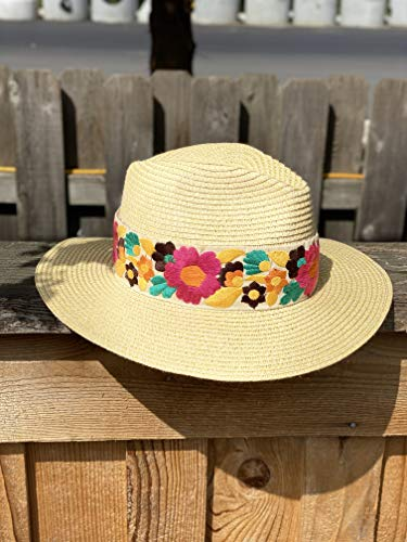 Panama Style Hat with Embroidered Flowers
