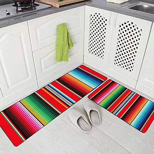 "Musesh Soft Kitchen Rugs 2 Pieces,Mexican Rug Pattern Serape Stripes Detail Background with Colors Washable Non-Slip Kitchen Mat Set 17""X48""+17""X24"" Rug for Kitchen"