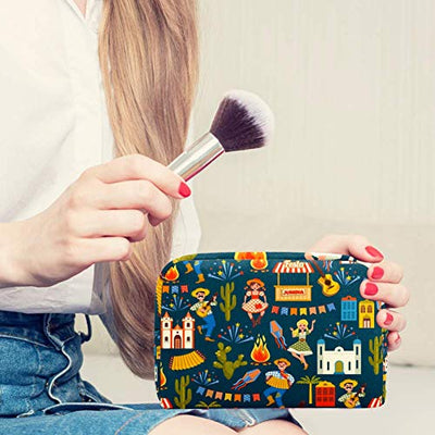 Latin American Holiday The June Party Of Brazil Pattern Cosmetic Bag Makeup Pouch Case Organizer for Travel Portable Toiletry Purse for Girls, Women