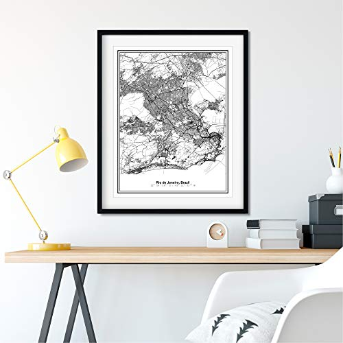Susie Arts 11X14 Unframed Rio de Janeiro Brazil Metropolitan City View Abstract Street Map Art Print Poster Wall Decor V291
