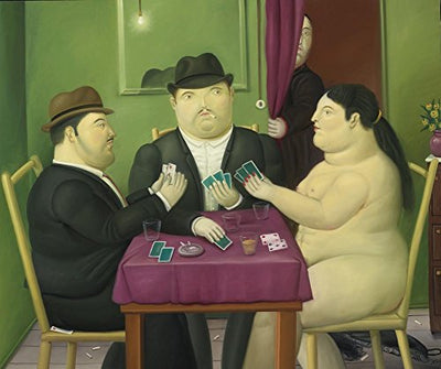 Fernando Botero - The Card Player, Canvas Art Print by YCC, Size 18x24, Non-Canvas Poster Print