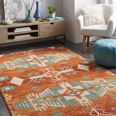 Mohawk Home Prismatic Eidenau Sunset Aztec Precision Printed Area Rug, 5'x8', Orange and Green