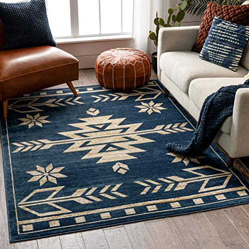 Well Woven Canton Blue Southwestern Medallion Area Rug 4x6 (3'11