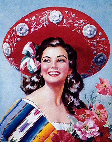 1940s Mexico Latina Senorita Woman Sombrero Advertisement Vintage Pin Up Poster
