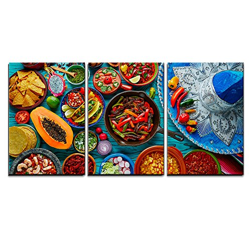 "wall26 - 3 Piece Canvas Wall Art - Mexican Food Mix Colorful Background Mexico and Sombrero - Modern Home Decor Stretched and Framed Ready to Hang - 24""x36""x3 Panels"