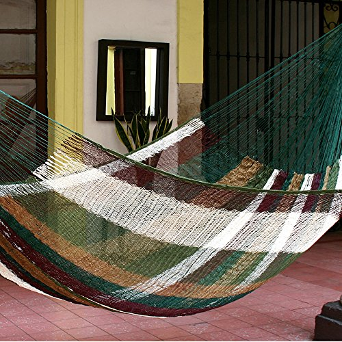NOVICA Nylon Green Earthtone Hacienda Rope Hammock 'Mother Earth' (double)