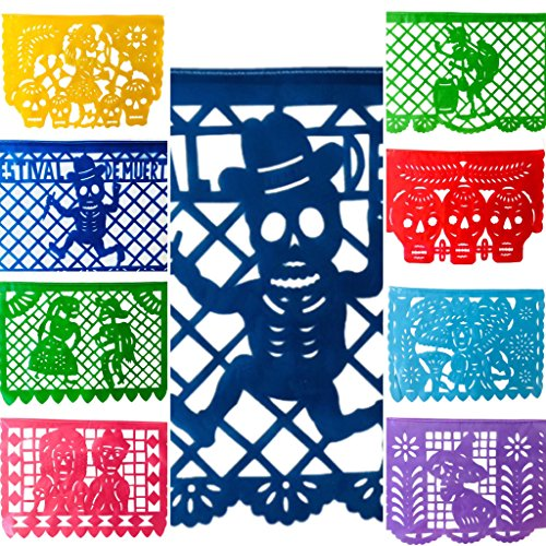 Mexican Fiesta Festival de Muertos Horizontal Papel Picado Banner (18 FT) PLASTIC LARGE GARLAND All Flags as Pictured