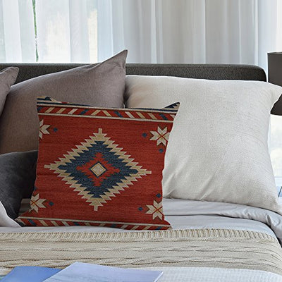 HGOD DESIGNS Vintage Southwest Native American Throw Pillow Case,Cotton Linen Cushion Cover Square Standard Home Decorative for Men/Women 18x18 inch Red …