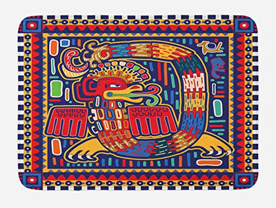"Lunarable Mexican Bath Mat, Culture Pattern Colorful Artwork Abstract Snake in Vivid Folk Style, Plush Bathroom Decor Mat with Non Slip Backing, 29.5"" X 17.5"", Mustard Orange"