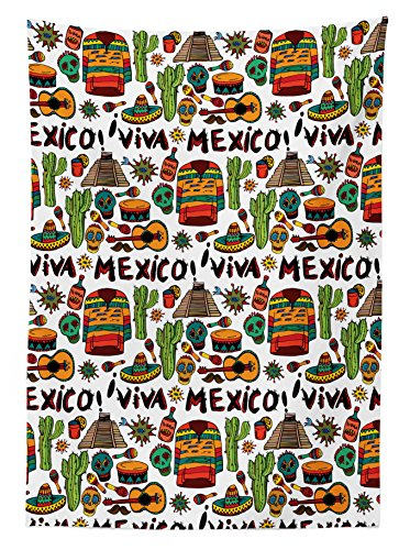 "Ambesonne Mexican Tablecloth, Viva Mexico with Native Elements Poncho Tequila with Salsa and Hot Peppers Image, Rectangular Table Cover for Dining Room Kitchen Decor, 60"" X 90"", Orange Brown"