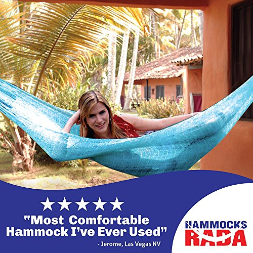 Hammocks Rada- Handmade Yucatan Hammock - Matrimonial Size Sky Blue Color - True Comfort, True Quality, World's Best Handmade Hammock- 100% No-Hassle Satisfaction Guarantee