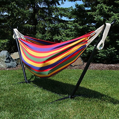 Sunnydaze Double Brazilian Hammock with Stand & Carrying Case - Large Two Person Hammock with Brazilian Stand - 400 Pound Capacity - Tropical