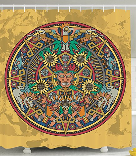 Mandala Shower Curtain Native American Decor by Ambesonne, Aztec Calendar Mayan Luck Sign Decorations for Bathroom Mystical Accessories Grunge Art Deco Fabric Mustard Yellow Brown Red Green Blue