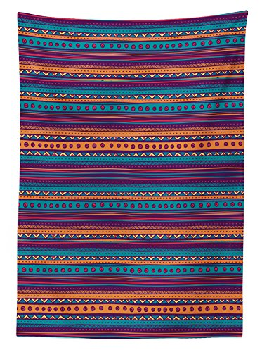 "Ambesonne Tablecloth, Striped Retro Aztec Pattern with Rich Mexican Ethnic Color Folkloric Print, Dining Room Kitchen Rectangular Table Cover, 60"" X 84"", Teal Plum"