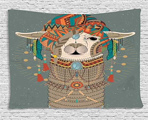 "Ambesonne Llama Tapestry, Colorful Headwear Wearing Llama with Accessories Earrings Necklace Abstract Animal, Wide Wall Hanging for Bedroom Living Room Dorm, 60"" X 40"", Gray Green"