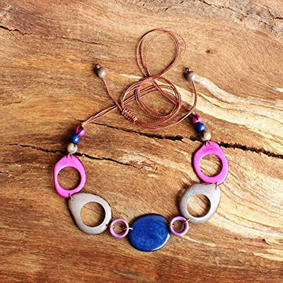 Chunky Colorful Statement Necklace made of Tagua Nut