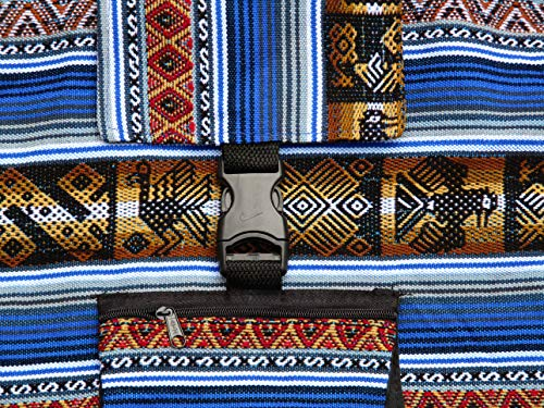 Blue Backpack Ethnic Andean Handmade Aguayo Ecuador Bolivian Peruvian fabric Backpack Bag