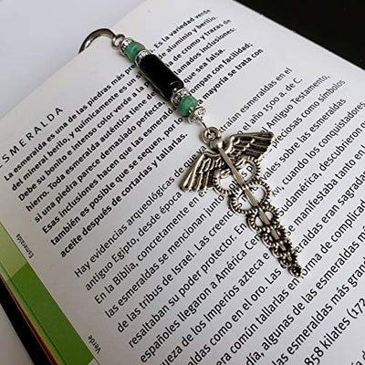 Bookmark with Medical Symbol, Raw Colombian Emeralds and Genuine Onyx. Gift for Dad. Strength and Hope! Vintage Bookmark by D'Mundo Accesorios. Bookmark with Antique Silver Caduceus Symbol.