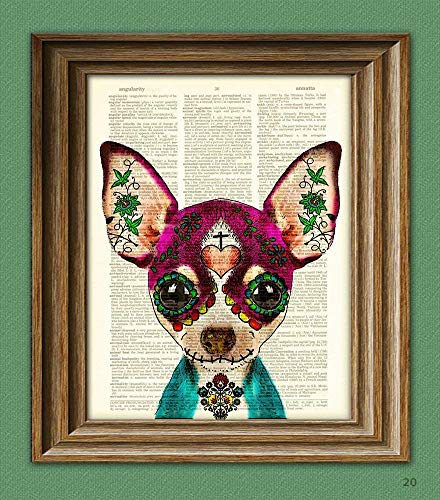Sugar Skull Chihuahua Day of the Dead Print