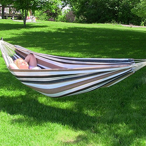Sunnydaze Brazilian Double Hammock, 2 Person Portable Bed - for Outdoor Patio, Yard, and Porch (Calming Desert)