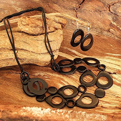 Chunky Black Statement Necklace and Earrings of Tagua Nut
