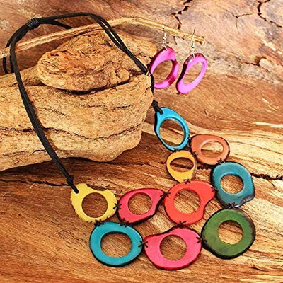 Mulit-Color Chunky Necklace and Earring Set made of Tagua Nut