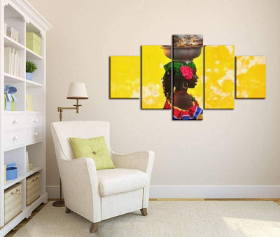 Skipvelo Cartagena DE INDIAS, Colombia June 15, 2014 Colombian Woman in Wall Art Canvas Prints Pictures Paintings Artwork Home Decor Stretched and Framed - 5 Pieces
