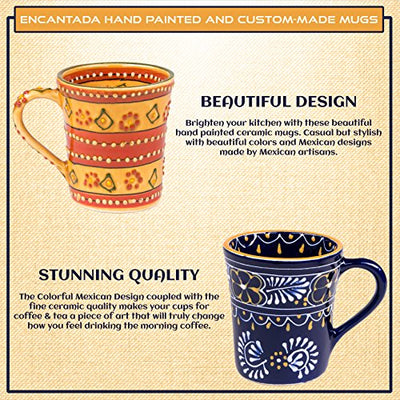 Encantada Mexican Themed Coffee pottery mugs- Decorative, Modern, Colorful, Novelty Pottery Coffee/tea Mugs-Perfect Match for Morning Instant/Organic/Ground/Black coffee-Lead free and Superior Quality