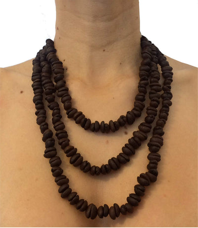 Coffee Necklace Handmade in Colombia with Organic Coffee Vegan Cruelty Free, undyed. Aromatherapy You can wear