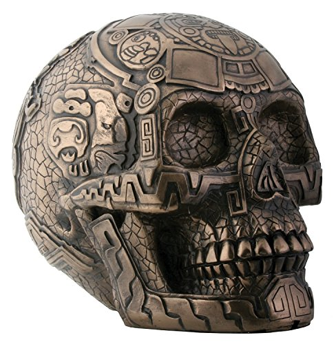 Bronze Aztec Skull with Aztec Engraving