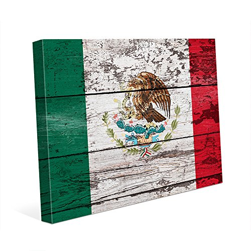 Mexico Flag on Wood Plank: Distressed Mexican Flag Wall Art Print on Canvas