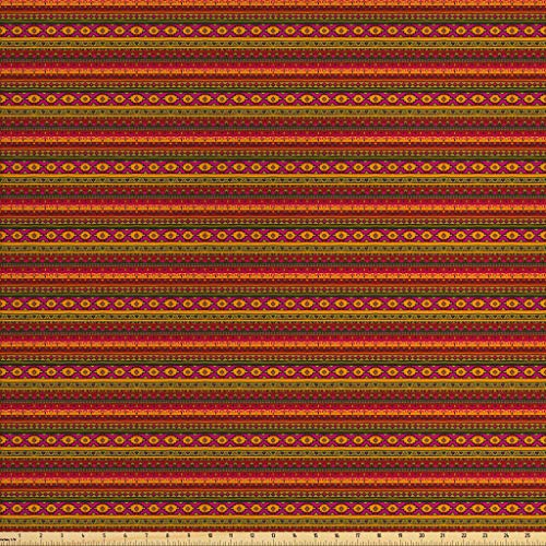 Lunarable Aztec Fabric by The Yard, South American Abstract Borders Mexican Peruvian Folk Art Elements Boho Doodle, Decorative Fabric for Upholstery and Home Accents, 1 Yard, Orange Green