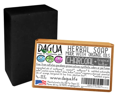 Charcoal and tropical butter soap made with organic oils coldpress vegan cruelty free made in the USA (1 count)
