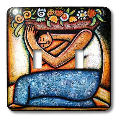 3dRose LLC lsp_21129_2 Flower Girl Mexican Art Colorful, Double Toggle Switch