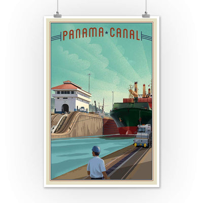 Panama Canal - Litho 101229 (12x18 Art Print, Wall Decor Travel Poster)