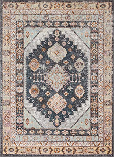 "Well Woven Rodeo Virden Blue Bohemian Eclectic Tribal Aztec 5'3"" x 7'3"" Distressed Area Rug, Beige"