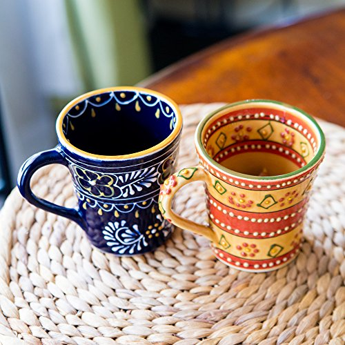 Encantada Mexican Themed Coffee Pottery Mugs Decorative Modern Colorful Novelty Pottery Coffee Tea Mugs Perfect Match For Morning